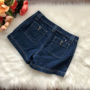Tommy Hilfiger 90s High Waisted Jean Shorts Dark